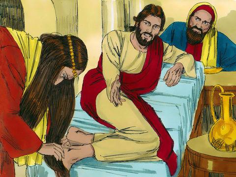 Sous les yeux des autres convives qui l'ont déjà jugée, elle pleure sur ses pieds, les essuie avec ses cheveux, les embrasse et verse de l'huile parfumée. Puis Jésus déclare au Pharisien: