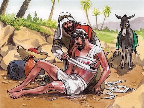 Le Bon Samaritain de la célèbre parabole de Jésus-Christ secourt l'homme qui a été agressé et laisser pour mort