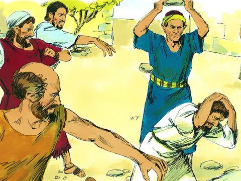 A Lystre, Paul se fait lapider et il est laissé pour mort (Actes 14 :19). En Grèce il doit fuir un complot juif.
