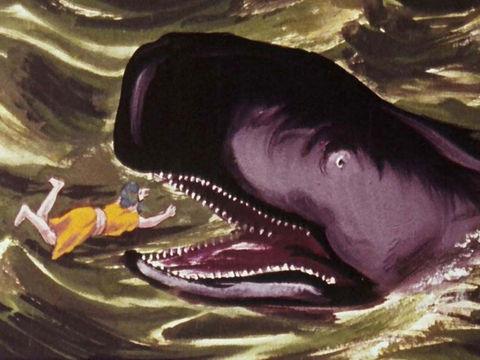 Jonas reste 3 jours et 3 nuits dans le ventre du gros poisson. Jésus aussi restera 3 jours et 3 nuits dans la mort. Symbolisme du nombre 3.