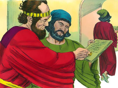 Comme le décret d'extermination est irrévocable, le roi Assuérus promulgue un autre décret autorisant les Juifs à se défendre le jour de l'attaque.
