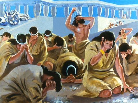 Les gens de Ninive crurent en Dieu ; ils proclamèrent un jeûne et s'habillèrent de sacs, depuis le plus grand jusqu'au plus petit. Au bout de 40 jours, Jéhovah renonce à détruire la ville de Ninive et ses habitants car ils s'étaient repentis.