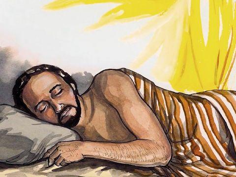 Un ange rassure Joseph dans un rêve afin qu'il prenne Marie comme femme car l'enfant qu'elle porte vient de Dieu.