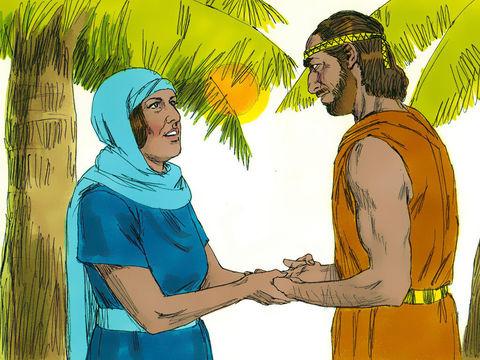 Après la bataille victorieuse menée par Barak et Déborah contre les Cananéens, le pays est en paix pendant 40 ans.