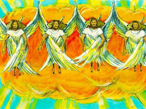 Le prophète Ezéchiel exilé à Babylone a le privilège de voir 4 chérubins dont l'aspect rappelle les 4 êtres vivants devant le trône de Dieu.  Les chérubins resplendissent comme un feu intense, chacun a 4 visages, d'homme, de taureau, d'aigle et de lion.