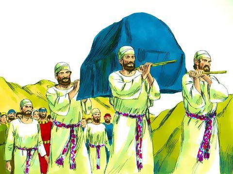Les prêtres transportant l'arche de l'alliance sont vêtus de fin lin: tunique, caleçon, tiare, ceinture. Le lin est utilisé pour les vêtements sacrés.