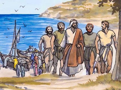 Les 4 premiers apôtres de Jésus sont: Simon Pierre et son frère André, Jacques et son frère Jean.Ils ont laissé leur métier de pêcheurs pour suivre Jésus.