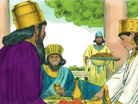 Le banquet est organisé, Haman est invité.