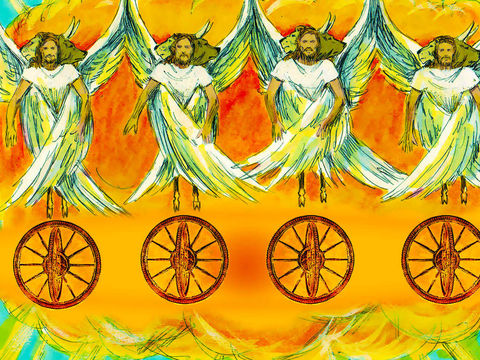 La vision de Jean ressemble fortement aux visions d'Ézéchiel alors exilé à Babylone près de 700 ans plus tôt. Ézéchiel a eu le privilège de voir 4 êtres vivants avec chacun 4 visages. Ce sont les visages d'un lion, d'un taureau, d'un homme et d'un aigle.