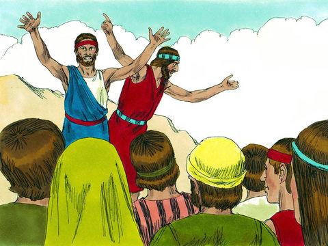 Moïse envoie 12 espions explorer la terre de Canaan, la terre promise. A leur retour seuls Josué et Caleb font un rapport positif. Ils essaient de rassurer les Israélites qui sont effrayés par le rapport des 10 autres espions.