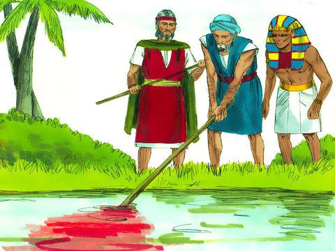 Aaron plonge le bâton dans le Nil, l'eau se transforme en sang. Les dieux d'Egypte sont humiliés.