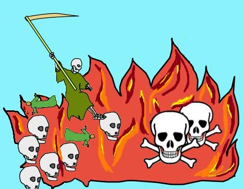 Par opposition à la première mort qui donne droit à la résurrection, la seconde mort est synonyme de destruction totale et définitive. Le fait que la mort soit jetée dans l'étang de soufre signifie que, désormais, les humains ne mourront plus.