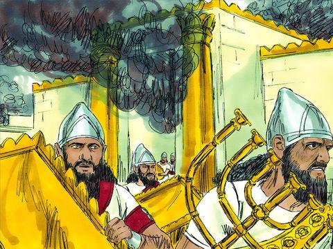 L'armée babylonienne détruit entièrement le magnifique temple de Jérusalem, symbole de la théocratie : le pouvoir de Dieu sur terre, en Israël. Tous les ustensiles en or et en argent du Temple de Jéhovah sont emmenés à Babylone.