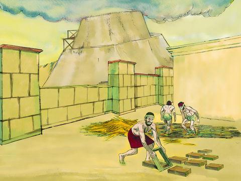 Les hommes font des briques pour bâtir la tour de Babel