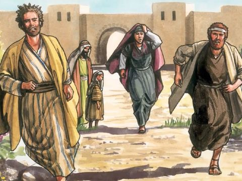 Pierre et Jean sont les premiers apôtres à courir vers le tombeau de Jésus après que Marie de Magdala les a avertis de la sa résurrection.