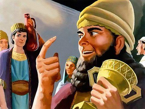 Le roi Belshatsar et ses invités, 1000 hauts-fonctionnaires, sont en train de festoyer, utilisant les coupes d'or du Temple de Jéhovah pour boire du vin jusqu'à l'excès et célébrer les faux dieux en or, en argent, en bronze, en fer, en bois et en pierre.