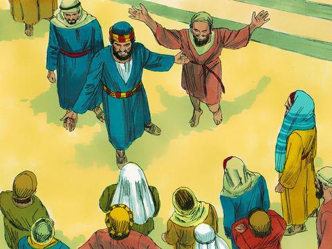 Les chefs du peuple juif, les anciens, les spécialistes de la Loi et le grand prêtre font comparaître Pierre et Jean devant le sanhédrin pour leur demander par quelle puissance ils ont guéri miraculeusement un infirme de naissance âgé de plus 40 ans