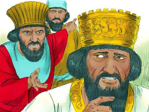 Le roi doit se résoudre à appliquer la sanction prévue par le décret d'interdiction.  Il donne l'ordre de faire venir Daniel et de le jeter dans la fosse aux lions. Une pierre est alors placée sur l'ouverture de la fosse.