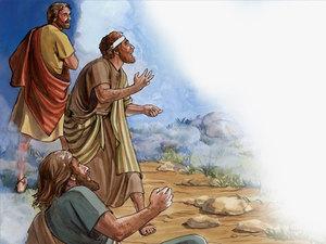 Pierre, Jacques et Jean assistent à la transfiguration de Jésus, éblouis par la gloire et l'éclatante lumière dans la montagne