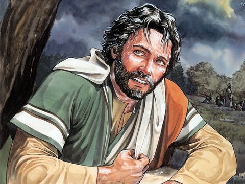Jésus porte le salut du monde entier sur ses épaules. Jésus prie intensément. Il sue des caillots de sang.
