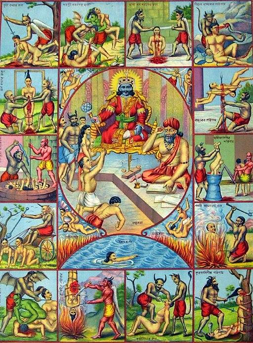 Dans l'hindouisme, les meilleures âmes se réincarnent jusqu'à atteindre le Nirvana, l'état de béatitude. L'enfer hindou, le Naraka, est un monde obscur, lieu de souffrance et de rédemption, habité par toutes les forces mauvaises et démoniaques.