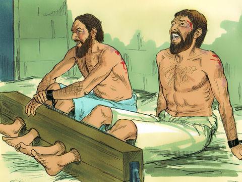A Philippes, Paul et Silas sont roués de coups et jetés en prison. Alors qu'ils ont les pieds emprisonnés dans des entraves, un violent tremblement de terre ébranle jusqu'aux fondations de la prison. Le gardien de prison et sa famille deviennent chrétiens