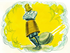 Le Royaume de Dieu est représenté par une pierre qui détruit la statue de Daniel, les pieds de fer et d'argile mêlés