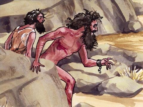 Dans le pays des Gadaréniens, deux hommes possédés par des esprits violents appelés « Légion », car nombreux, vivent au milieu des tombeaux, sans vêtements, et brisant les chaines et les fers qu'on essaie de leur mettre.
