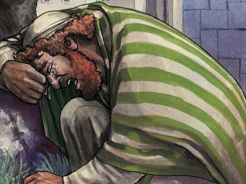 L'apôtre Pierre pleure amèrement car il vient de renier Jésus, le Messie, (avec qui il a eu l'immense privilège d'être très proche) - par trois fois en disant qu'il n'a jamais vu cet homme.