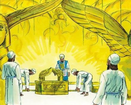 Les prêtres amenèrent l'arche de l'alliance de l'Éternel à sa place, dans le sanctuaire du temple, dans le lieu très saint, sous les ailes des chérubins. 7 En effet, les chérubins avaient les ailes étendues sur l'emplacement occupé par l'arche.