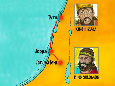 Salomon reçoit ensuite l'aide d'Hiram, roi de Tyr, qui avait toujours aimé David. Hiram fournit à Salomon autant de bois de cèdre et de cyprès qu'il veut pour la construction de la maison de Jéhovah Dieu.
