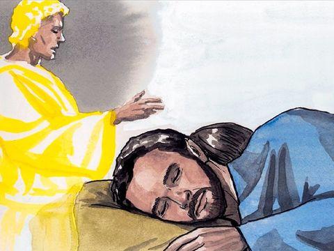 L'impitoyable roi Hérode a fait assassiner tous les enfants âgés de moins de 2 ans. A sa mort, un ange avertit Joseph dans un rêve de revenir en Israël.