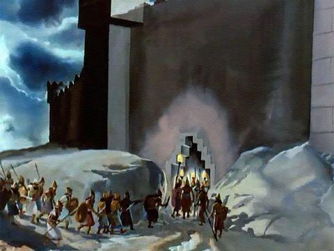 """Cyrus détourne le cours de l'Euphrate, ses troupes empruntent le lit du fleuve pour entrer par des portes donnant sur les fossés restées ouvertes dans la ville sans méfiance. Esaïe : « Je dis aux eaux profondes: Desséchez-vous! Je tarirai tes fleuves."""""""