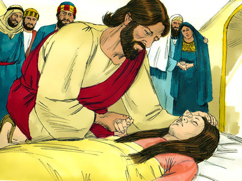 Jésus a guéri des malades et des infirmes, il a nourri des foules, il a ressuscité des morts, ici la fille de Jaïrus. Il essuiera toute larme de leurs yeux, la mort ne sera plus et il n'y aura plus ni deuil, ni cri, ni douleur...