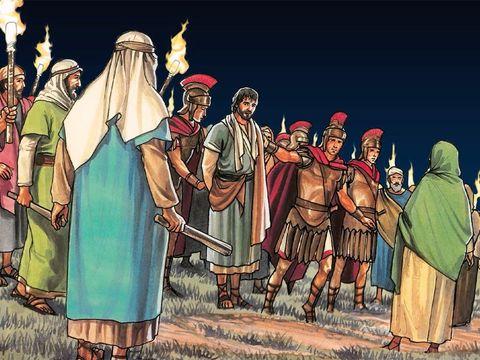 Alors qu'une foule armée d'épées et de bâtons s'avance vers Jésus qui reste courageux et vrai, les apôtres, eux, ont peur et prennent la fuite.