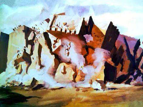 Les 7 prêtres soufflent dans les 7 trompettes le 7ème jour, les murailles de Jéricho s'effondrent