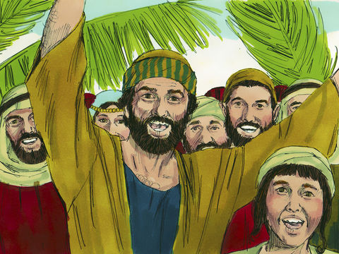 Les branches ou rameaux de palmiers symbolisent l'honneur qui est fait à Jésus, la reconnaissance de son autorité, l'accueil chaleureux du messie promis.  Ils crient:« Gloire à Dieu ! Que le Seigneur bénisse celui qui vient en son nom, le Roi d'Israël ! »