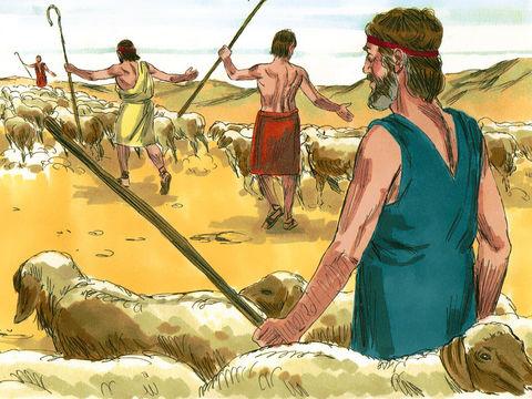 Jacob et sa famille quittent Laban pour retourner à Canaan car les fils de Laban sont jaloux de Jacob