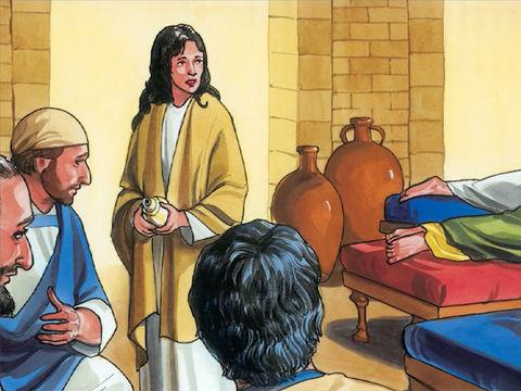 Marie, la sœur de Lazarre, prend un demi-litre de parfum de nard pur très cher pour en verser sur la tête et les pieds de Jésus. La senteur de ce parfum diffuse et se répand alors dans toute la maison. Marie a dépensé une fortune pour honorer Jésus.