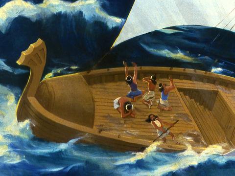 Jéhovah fait souffler un vent violent. Le bateau menace de se briser et de faire naufrage. Jonas reconnaît que cela est de sa faute et dit aux matelots de le jeter à la mer pour que le vent se calme.