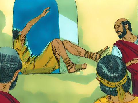 Pendant que Paul fait un long discours jusqu'à minuit, un jeune homme nommé Eutychus s'endort profondément alors qu'il est assis sur le rebord de la fenêtre et fait une chute mortelle du troisième étage. Paul descend le rejoindre.