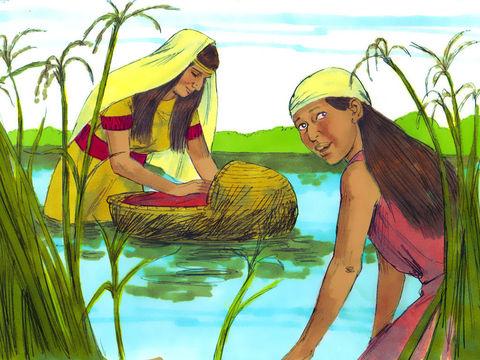 Moïse est déposé sur le Nil, sa sœur Myriam le suit à distance et propose à la fille de pharaon une nourrice qui sera la mère de Moïse elle-Même.