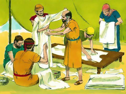 Des vêtements en lin sont fabriqués pour les prêtres: le caleçon, la tunique, la tiare, l'éphod et sa ceinture, en fin lin retors.