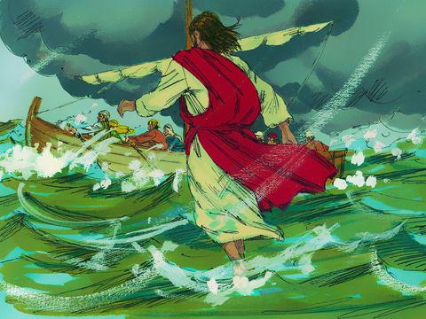 Les disciples se trouvent au milieu du lac de Tibériade (ou mer de Galilée) dans lequel le vent crée tout à coup des vagues importantes. Jésus marche vers eux sur l'eau agitée.