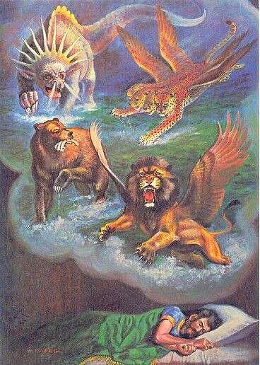 C'est au cours de la première année du règne de Belshatsar, en 553 av J-C, que le prophète Daniel reçoit les visions annonçant la succession des dernières puissances mondiales sous la forme de 4 bêtes terrifiantes qui montent de la mer.
