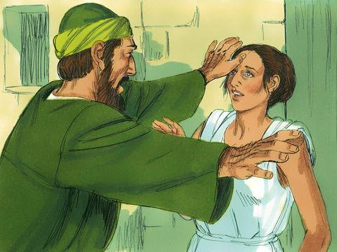 Quand Paul, agacé, ordonne à l'esprit de sortir d'elle, les maîtres de la servante qui voient disparaître leur gain, s'emparent de Paul et Silas et les traînent devant les magistrats. Après être roués de coups, ils sont jetés en prison.