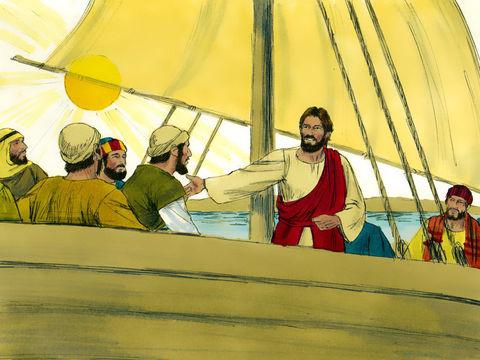 """Le vent tombe, la mer se calme. Saisis de frayeur et d'étonnement, ils se dirent les uns aux autres: """"Qui est donc cet homme? Il donne des ordres même au vent et à l'eau, et ils lui obéissent!"""""""