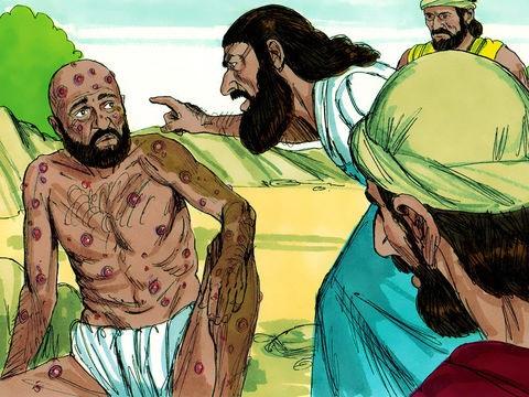 3 amis de Job apprennent ce qui lui est arrivé et viennent le voir. Ces amis, au lieu de l'encourager, l'accablent de culpabilité en prétendant que les malheurs qu'il subit sont sans doute dus à quelque chose de mal qu'il aurait fait.