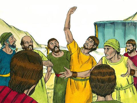 A leur retour seuls Josué et Caleb font un rapport positif. Les autres espions décrivent un pays qui dévore ses habitants peuplé de géants, les descendants d'Anak, bien plus forts qu'eux et dénigrent ainsi la terre promise par Dieu.
