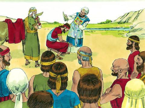 Salomon, fils de Bath Shéba, succède à son Père David sur le trône d'Israël. Le prophète Nathan oint sa tête d'huile d'onction.